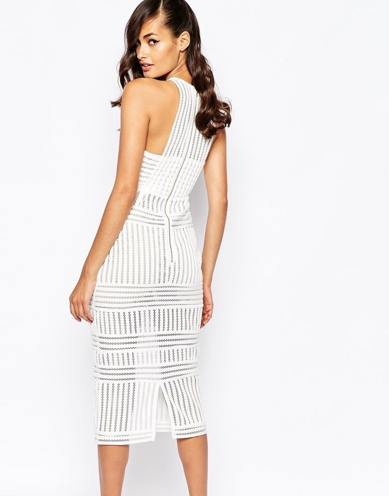 da3952916a0e Self Portrait Striped Mesh Column Midi Evening Dress White/Nude UK 12/EU  40/US 8
