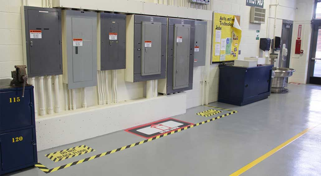 Floor Marking For Electrical Panel Clearance Safety