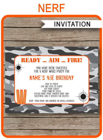 Nerf Party Invitations Template Nerf Party Nerf Birthday Party - Party invitation template: nerf war party invitation template