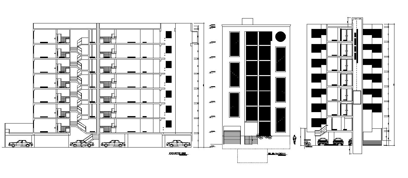 G 7 Storey Floor Level Building Sectional Elevation Design Download DWG File