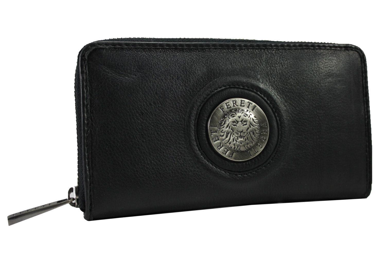eca019003d4 Echt leder dames heren portemonnee Zwart 3D leeuw geldbeugel purse travel  wallet Boho ritssluiting clutch leer Fereti hand gemaakt zilver door Fereti  op ...