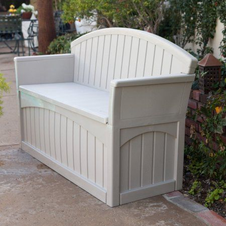 gallon resin outdoor deck storage bench