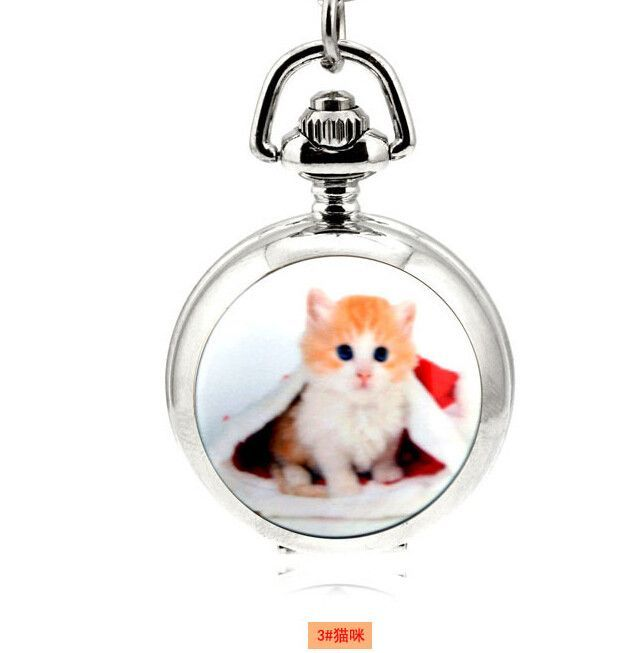 Quartz 3.5cm Mini Cat Pendant Enamel Mirrored Pendant Necklace Pocket Watch