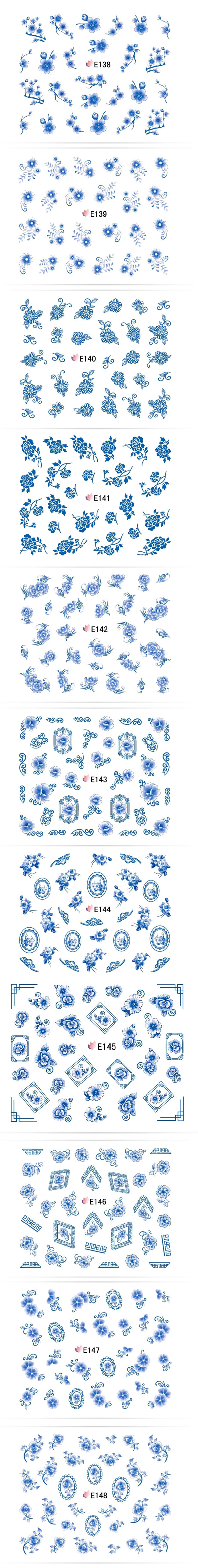 $1.90 1 sheet 3D Nail Stickers Chinese Painting Blue Flower Series Nail Art Decoration - BornPrettyStore.com
