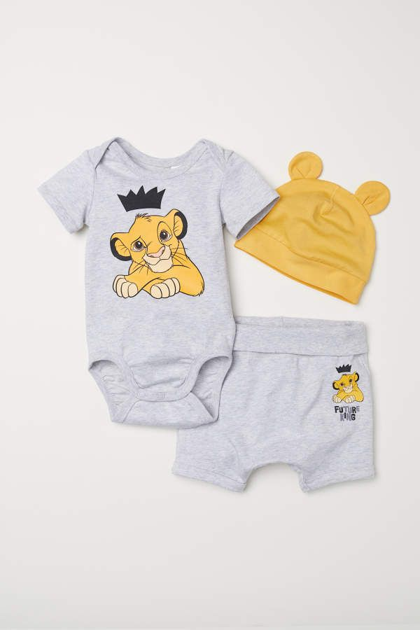 e11ed1aa022 H M 3-piece Jersey Set - Gray melange The Lion King - Kids ...