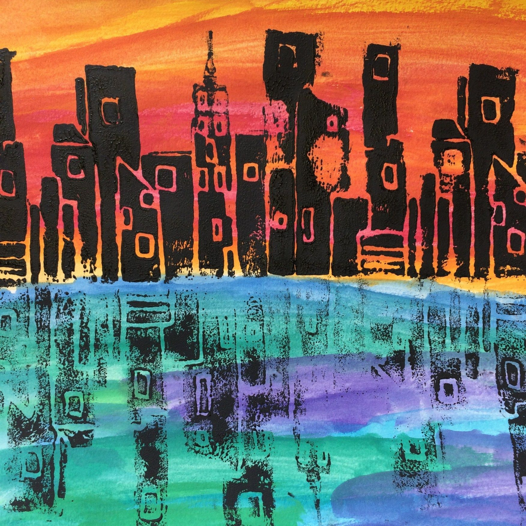 Printmaking I City Skylines With Reflections