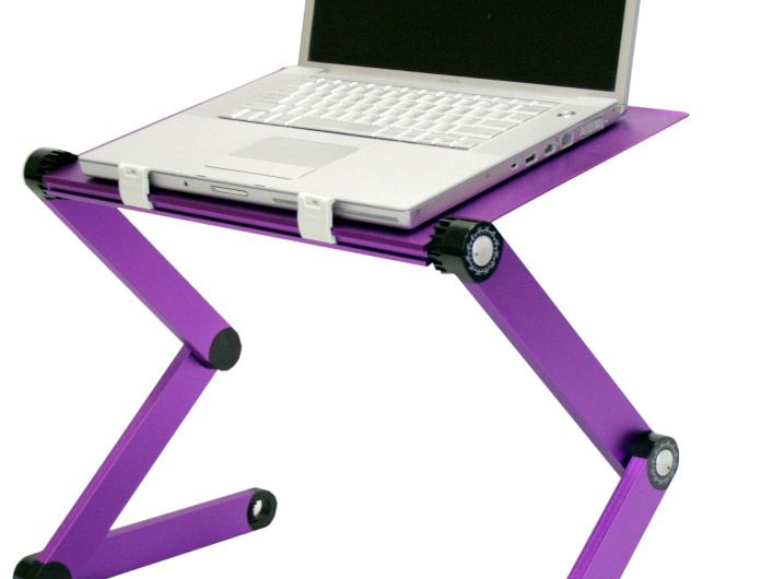 Furinno Adjustable / Portable Laptop Desk Table With Fan   Shown In Purple