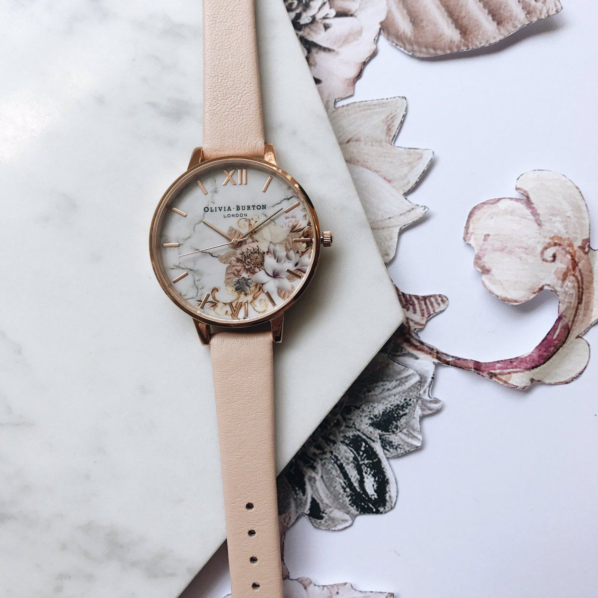 03e7c3c92 Olivia Burton Marble Floral Nude Peach & Rose Gold Watch #oliviaburton #new  #collection #watch #jewellery #jewelry #marble #florals #gift