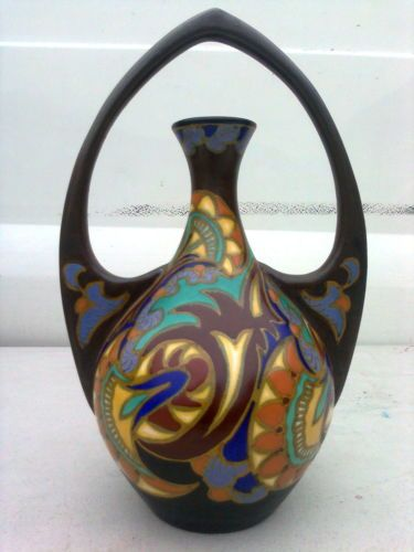 Rare Big Large Gouda Pottery Vase Zuid Holland Decor Princess Ivora