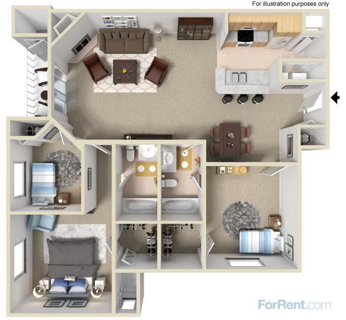 A Three Bedroom Two Bath Apartment Home With 1 200 Square Feet Of Living E Room Planner 360 Degree View