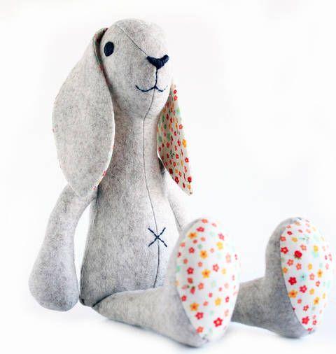 Bunny rabbit sewing pattern - Stuffed toy sewing pattern at Makerist ...