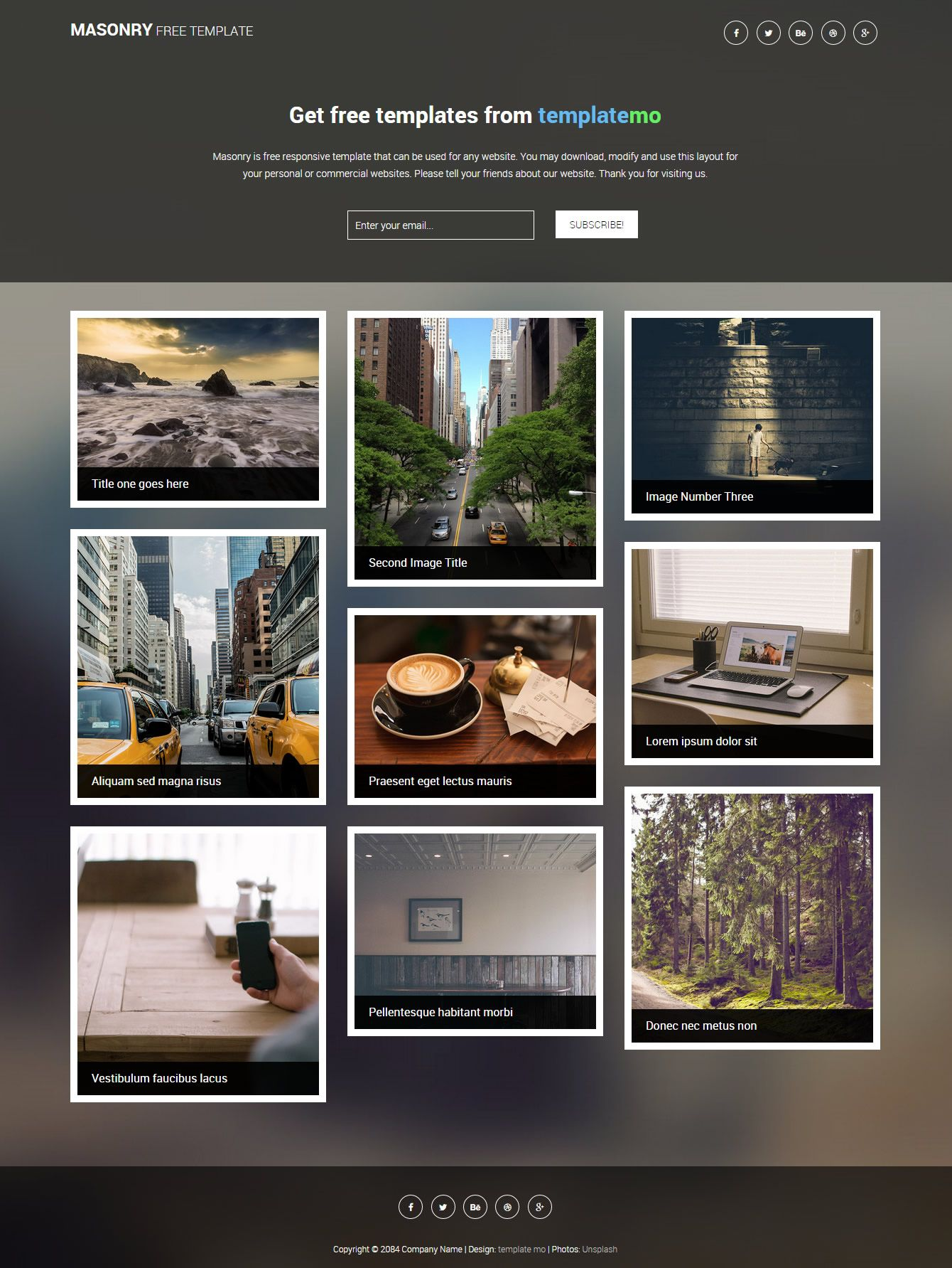 templatemo 434 masonry | Free psd template | Pinterest | Mobile ...