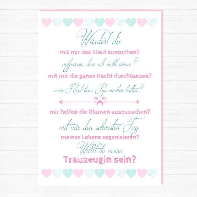 Postkarte Brautjungfer Hochzeit Trauzeugin  Hochzeit  Trauzeugin hochzeit Hochzeit