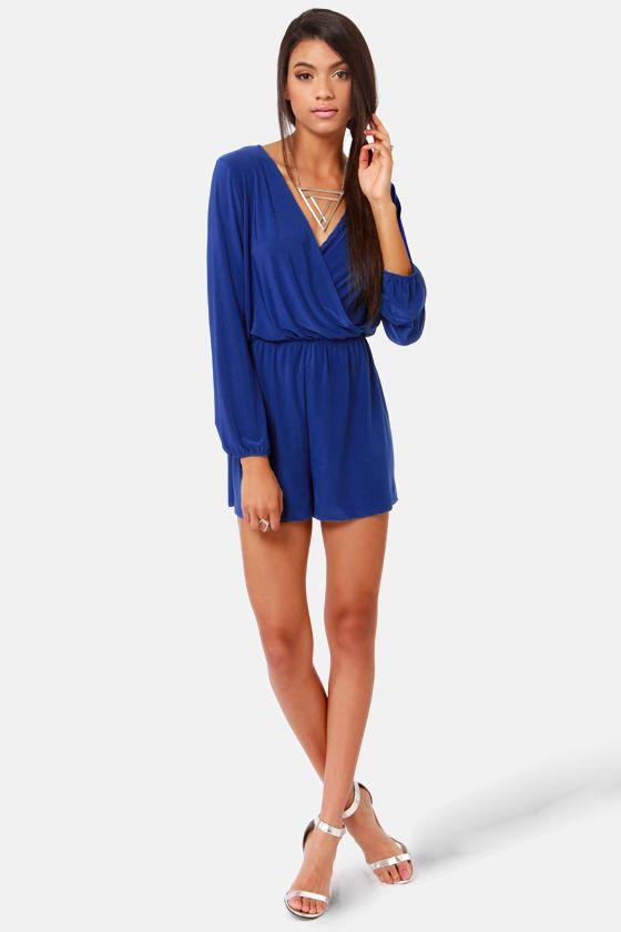 5c7ff93997d7 Cute Royal Blue Romper - Long Sleeve Romper