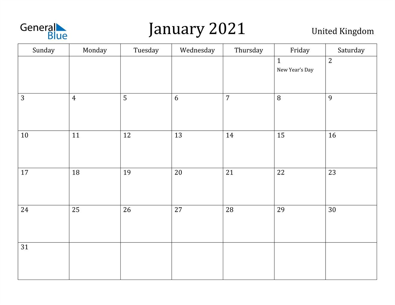 January 2021 Calendar United Kingdom In 2020 Printable Calendar Design Calendar Template Printable Calendar