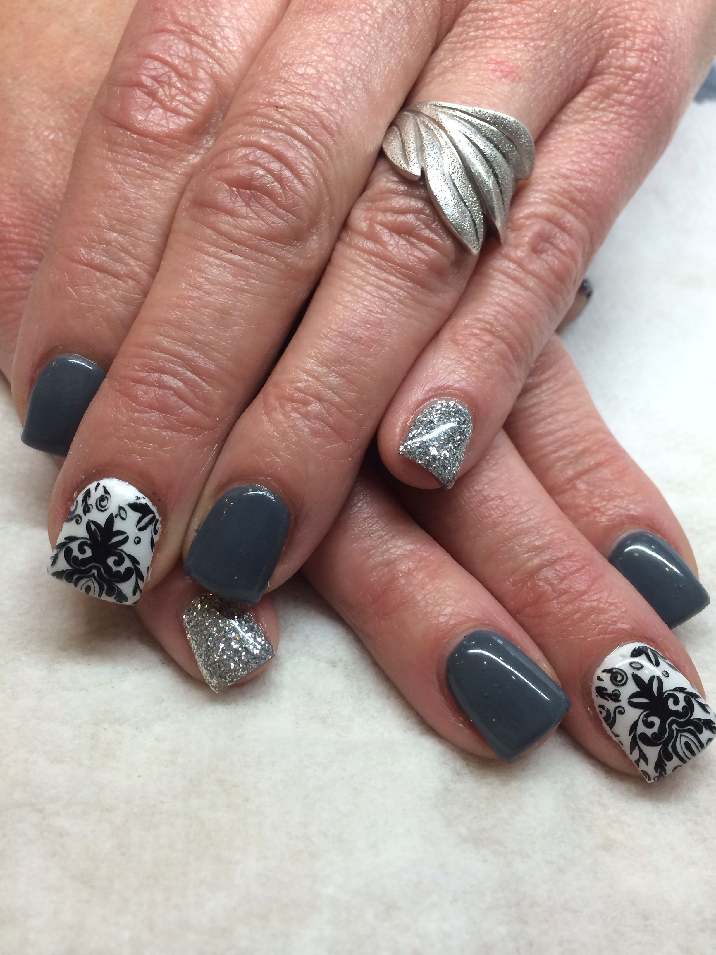 Gel nail designs grey black and white | nail designs and nail art ...