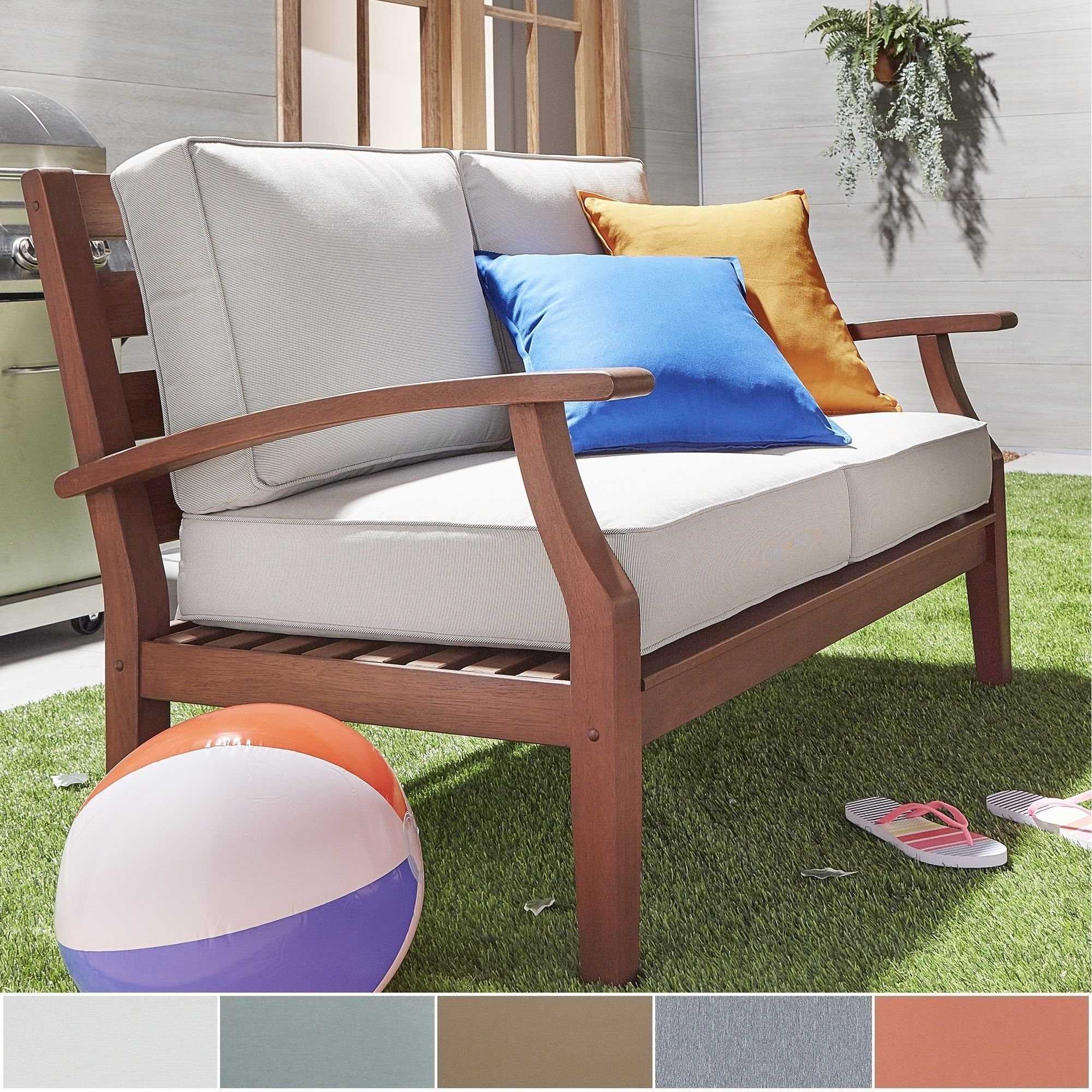 Yasawa Brown Modern Outdoor Cushioned Wood Loveseat By Napa Living (RED  Cushion), Size Single, Patio Furniture (Fabric)