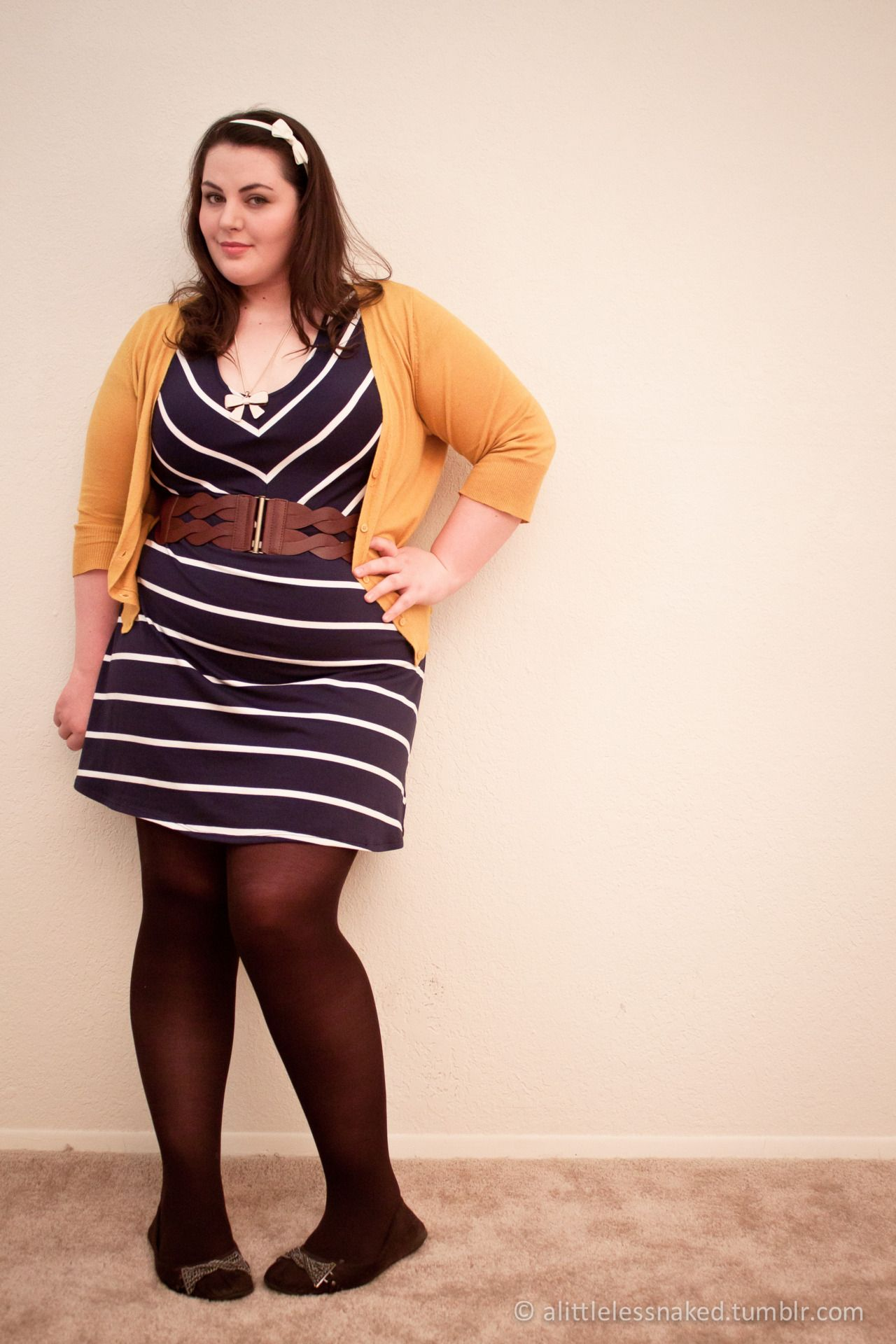d919ac3460f5f Plus size mustard cardigan over blue & white striped dress with brown belt  and black tights with flats