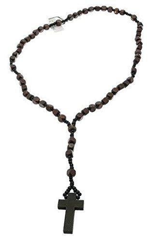 Bois brun chapelet perle collier de perles Avec Croix / Crucifix