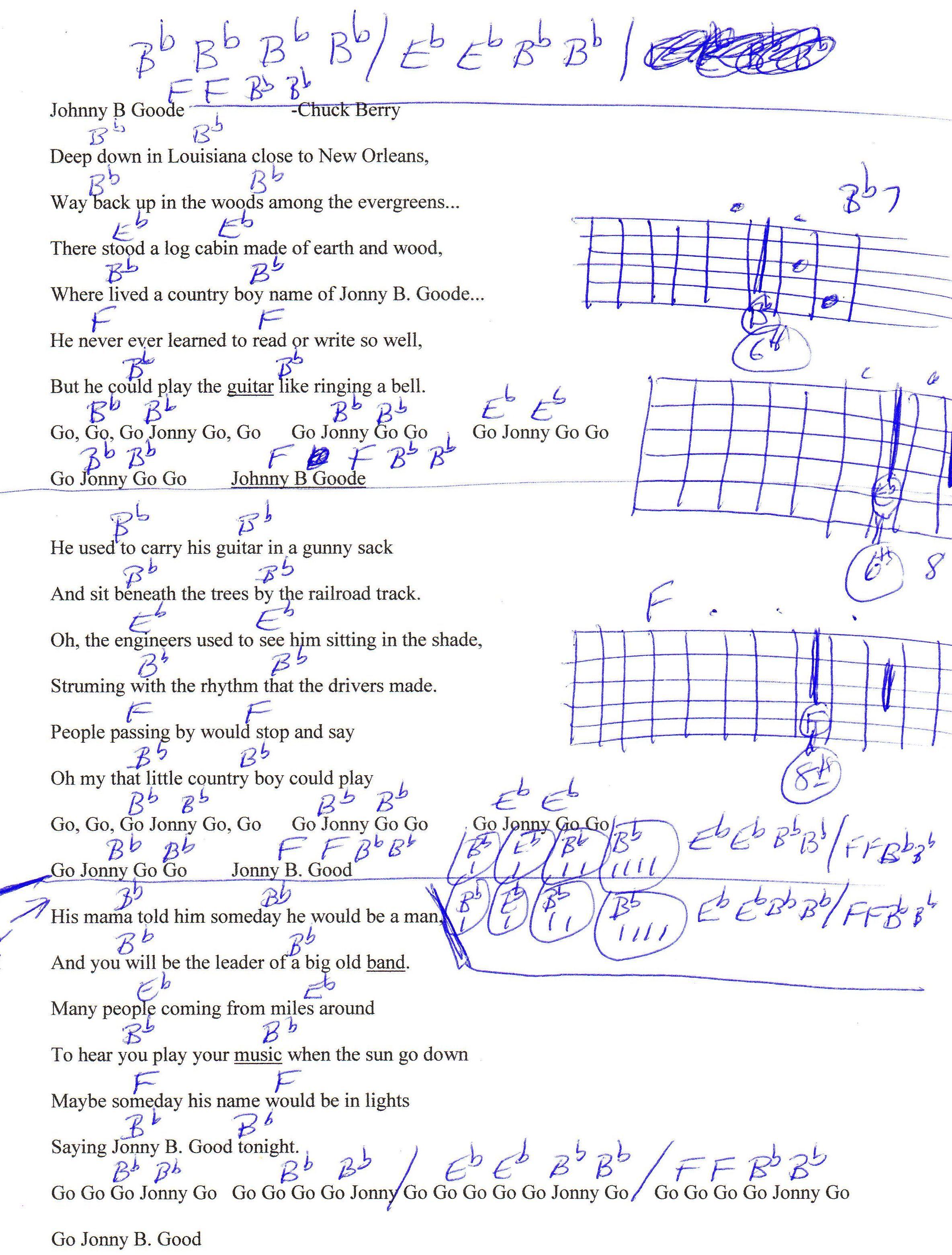 Johnny B Goode Chuck Berry Guitar Chord Chart Guitar Lesson