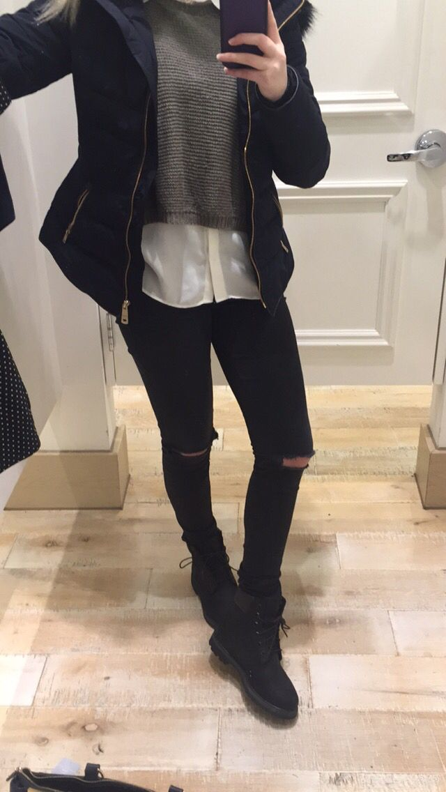 Casual black timberlands black ripped jeans zara coat