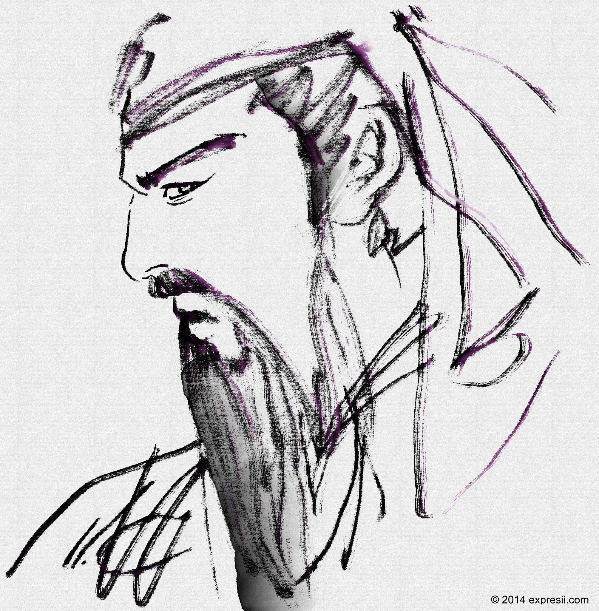 臨摹 李志清 白描,自行染一下鬚鬢 Notice different stroke textures are used for clothing and beard.