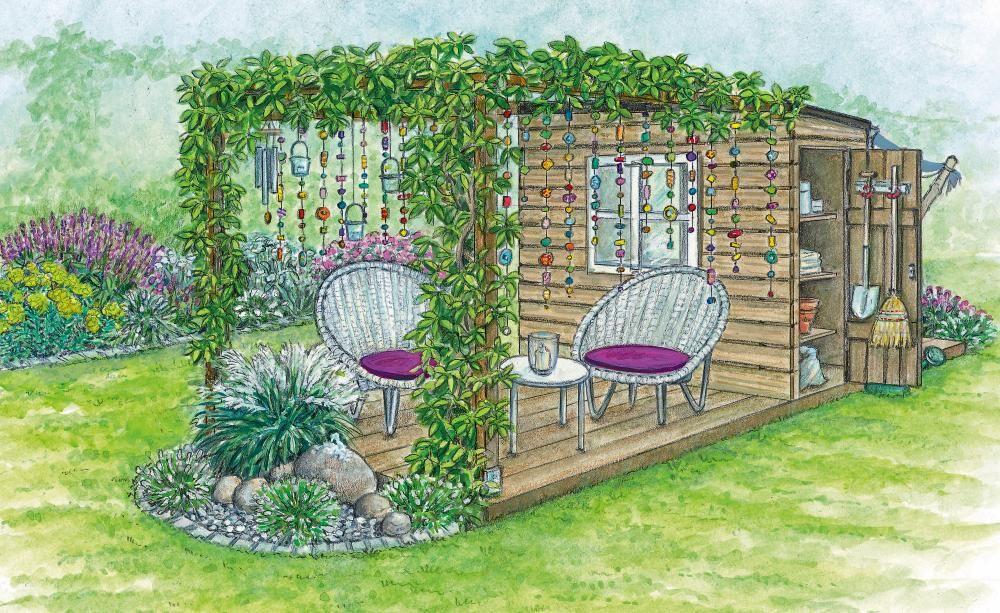 1 Garten 2 Ideen Ein Reihenhausgrundstuck Bluht Auf Garten Grundriss Schokoladen Wein Gartenschrank