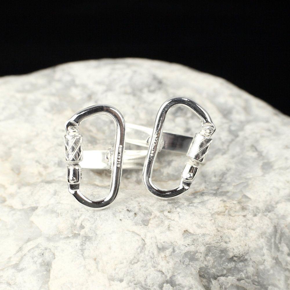 Functional carabiner cufflink sterling silver rock