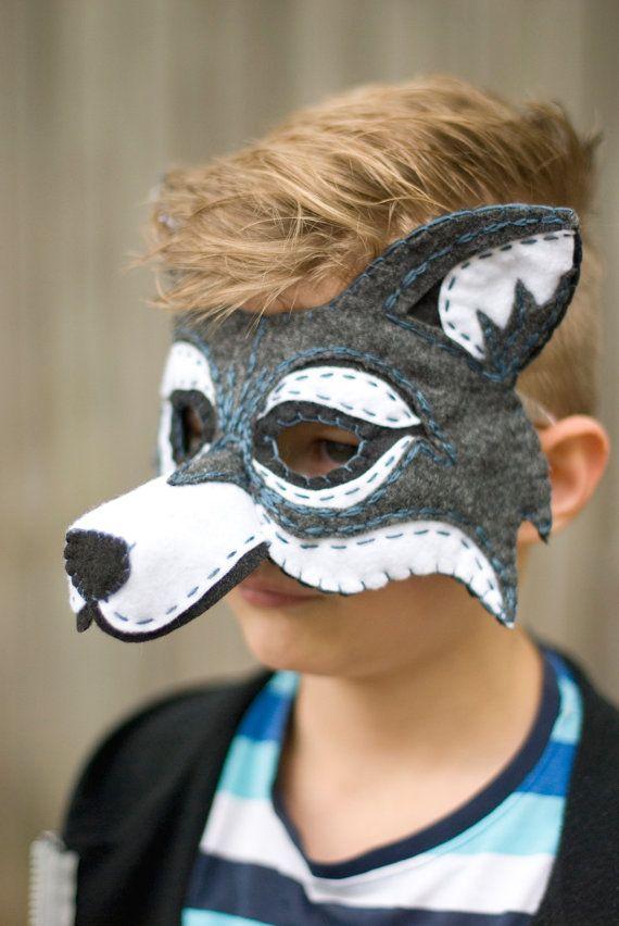 Wolf Mask Handmade Felt Embroidered Details--Halloween Children Photography Prop…