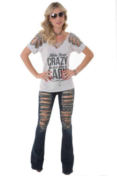 Blusa M/C Bordado Crazy Prata | Quinta Geração
