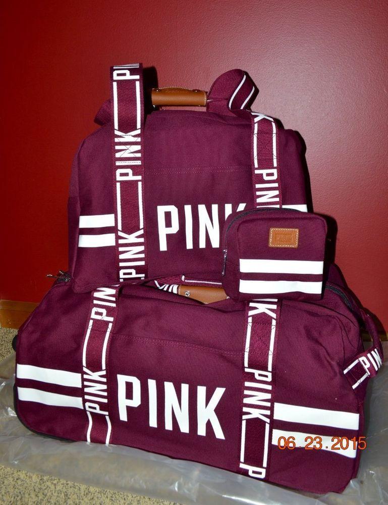 Victorias Secret Pink Varsity Burgandy 3 Pc Wheelie Duffel Bag ...