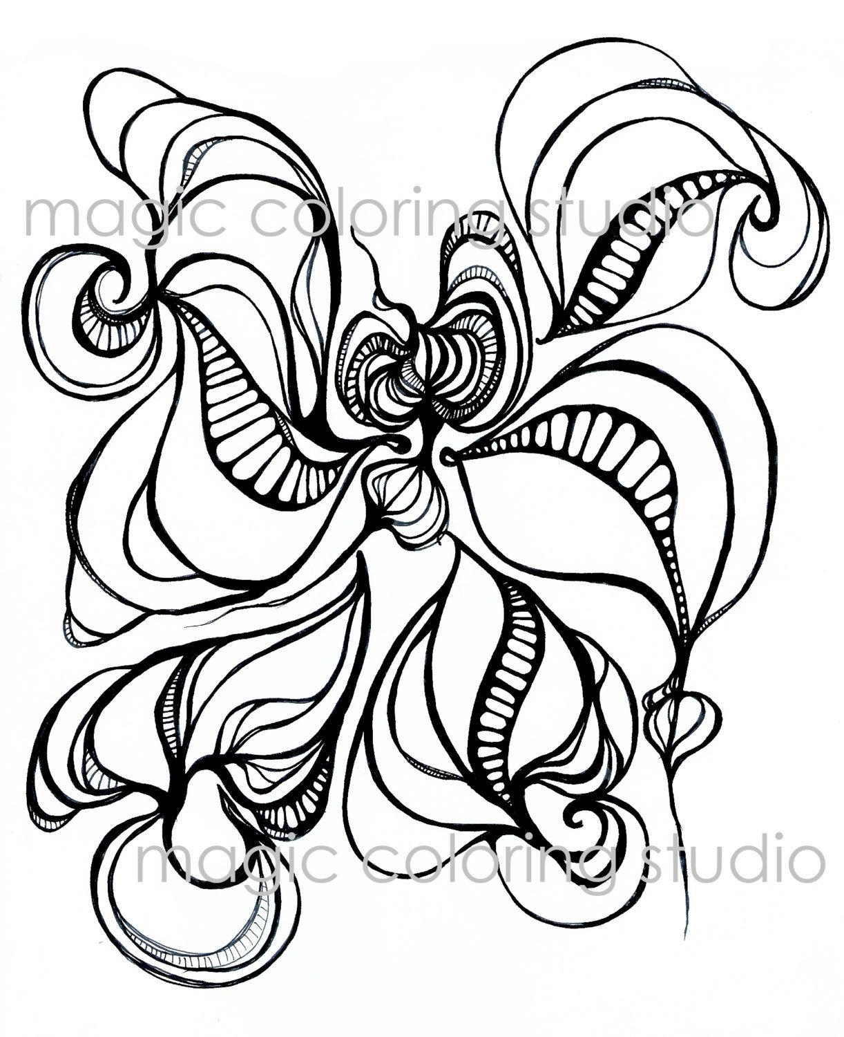 Ocean flower coloring page adult and children coloring page