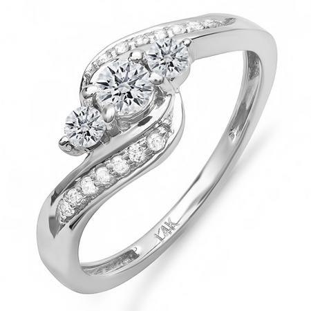 Thanks for Sharing!  0.50 Carat (ctw) 14k White Gold Round Diamond Ladies Swirl Engagement 3 Stone Bridal Ring 1/2 CT - Dazzling Rock #https://www.pinterest.com/dazzlingrock/