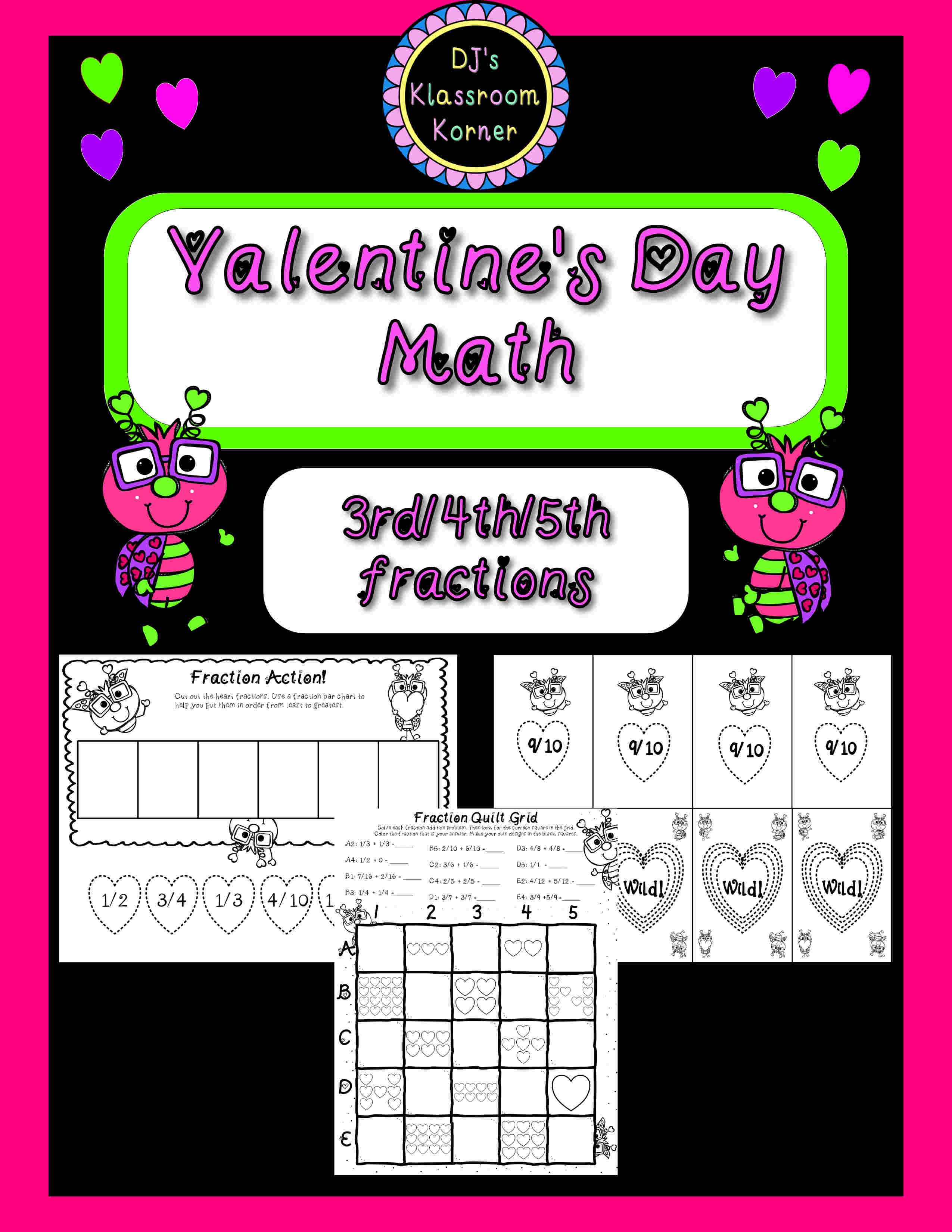 Valentine S Day 3rd 4th 5th Grade Fractions