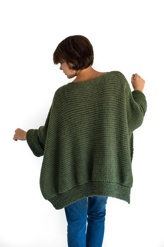 Poncho with sleeves hand knitted in chunky alpaca wool ...