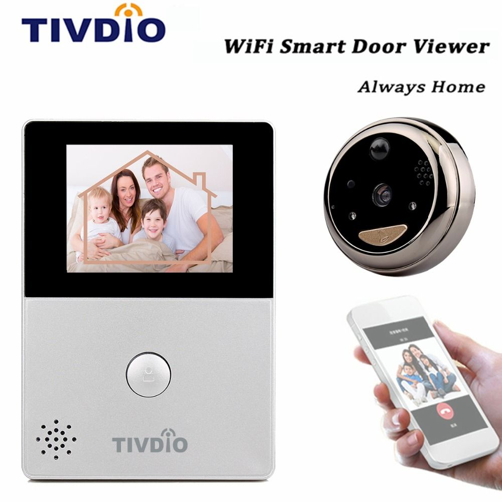 front door video cameraTIVDIO WiFi 28 OLED HD Screen Monitor Door Viewer Front Door