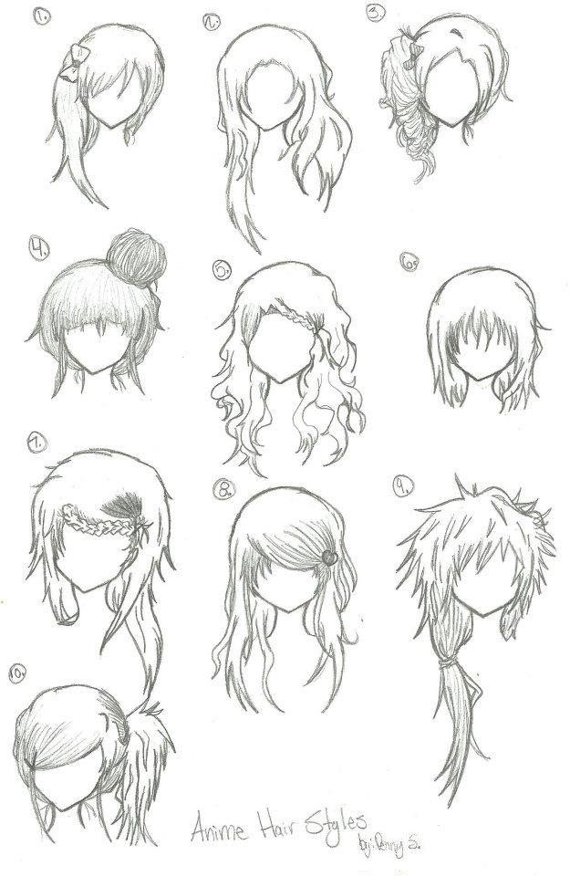 Hairstyles --- Anime, Manga, Drawing, Art, Bun, Curly ...