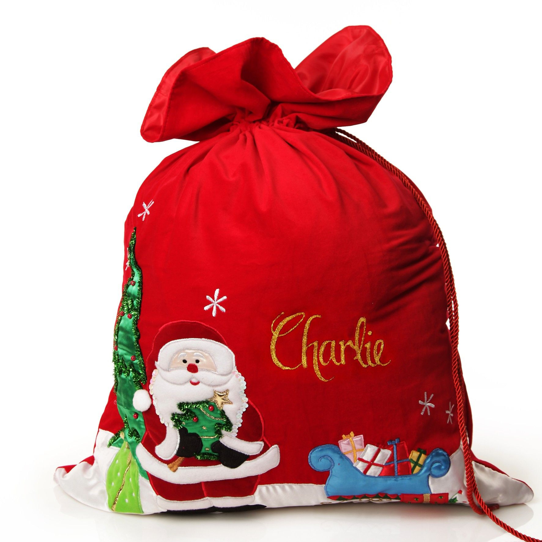 Gift xmas stocking LARGE EMBROIDERED Personalised Christmas Penguin Sack Bag