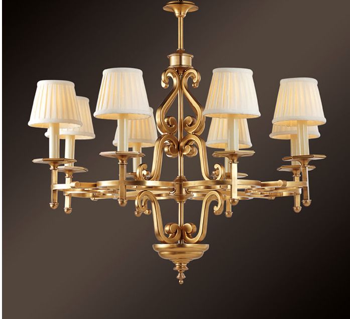 Norh American Style Large Brass Chandelier Suspension Light Item