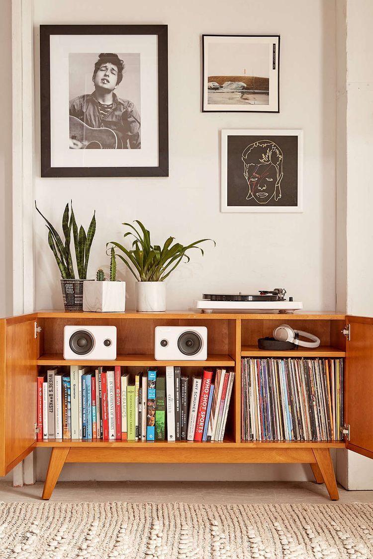 Media Storage Record Player Setup Vinyl Room Decor Urban