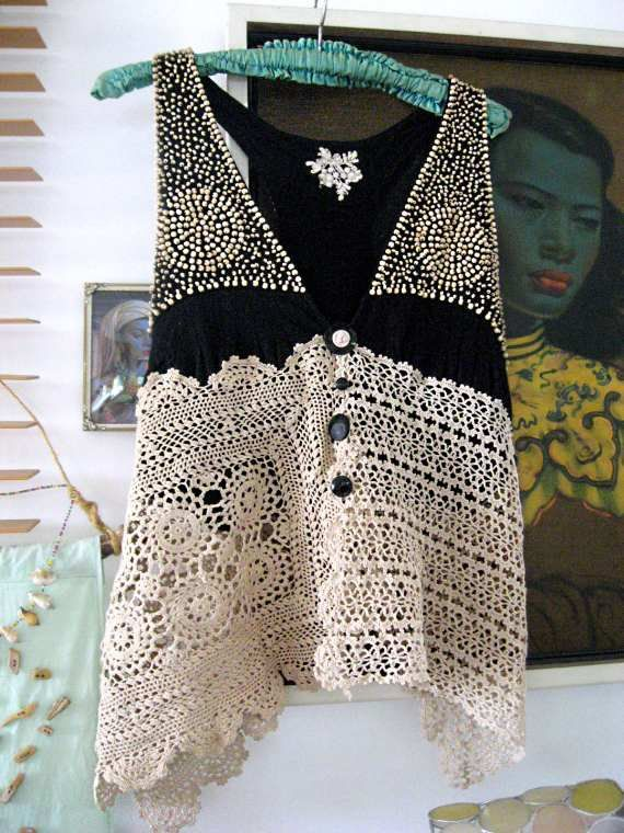 Beaded Lacy top Tank Black Cream Recycled by AllThingsPretty, $95.00