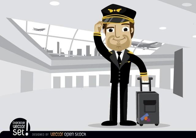 pilot with baggage in airport Airplane pilot with baggage in airport, Vector by Vector Open Stock L