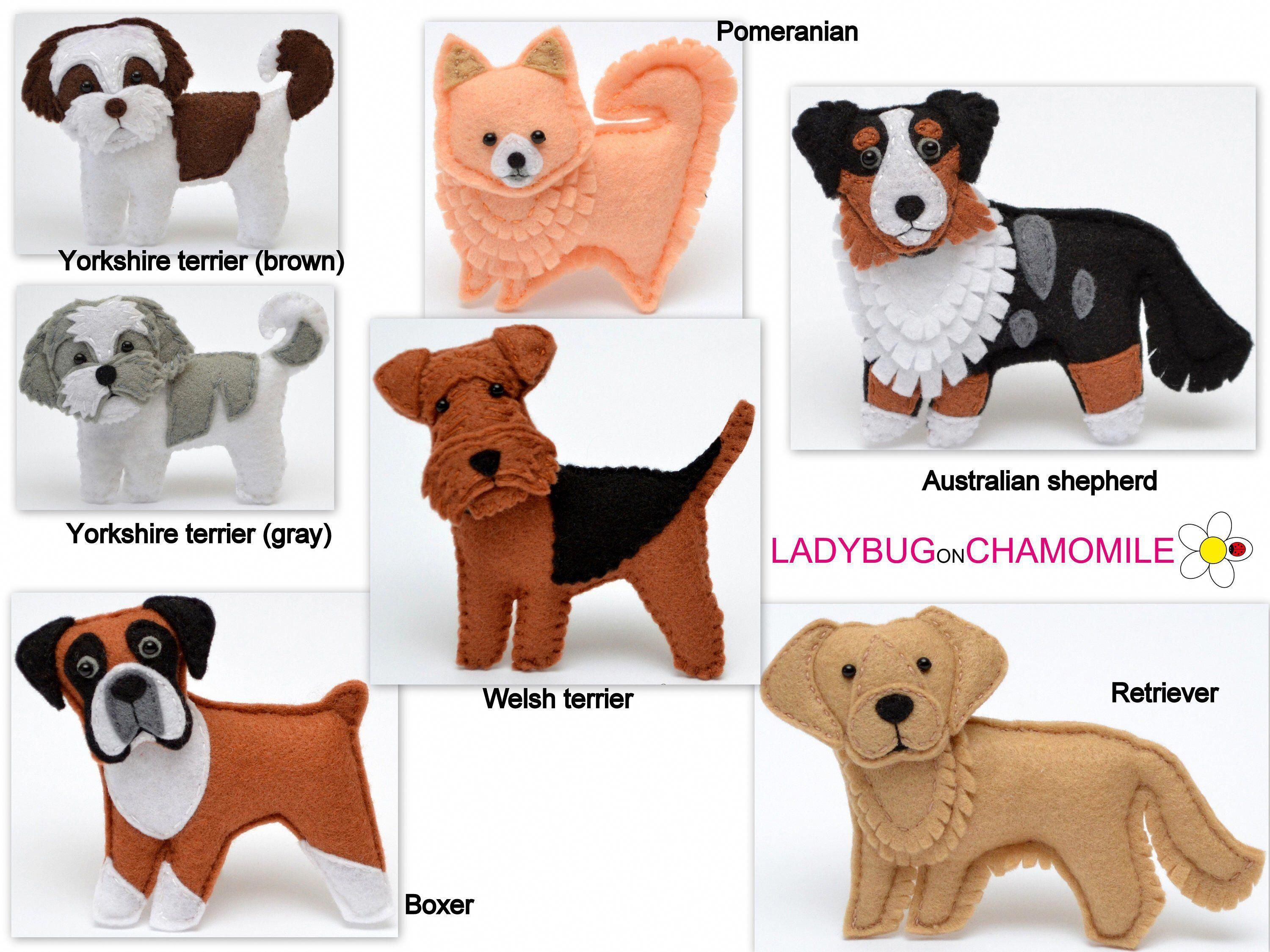 Personalized Dogs Felt Toys Ornaments Magnets Keychains Etsy In 2020 Felt Dog Ornament Felt Toys Felt Animals