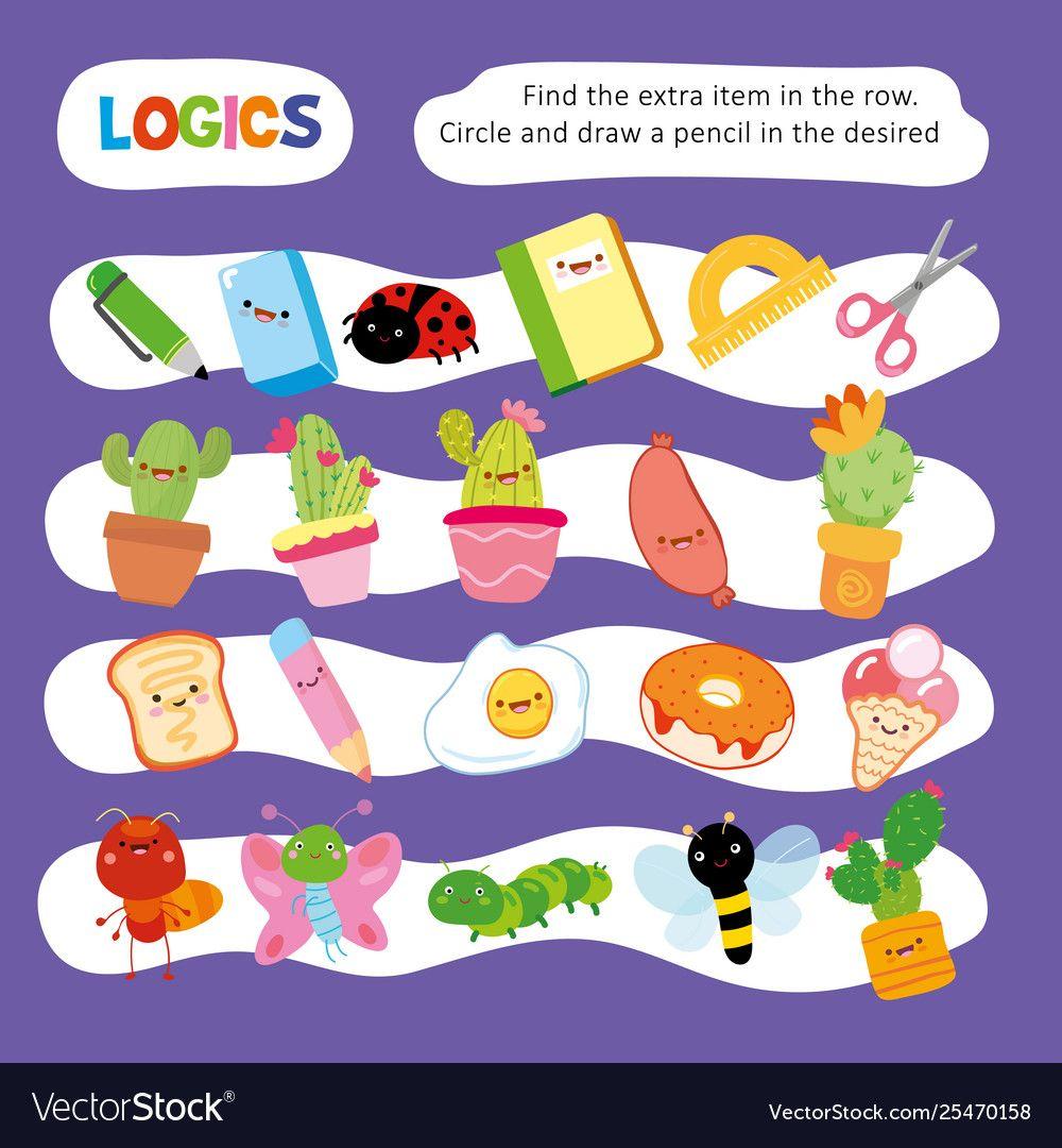 Logic Kid Find Wrong Item Game Printable Worksheet Vector Image On Vectorstock Toddler Learning Activities Printable Worksheets Logic [ 1080 x 1000 Pixel ]