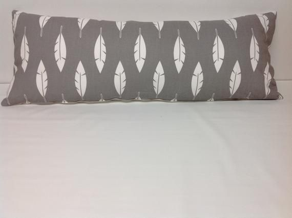 Gray And White Large Lumbar Pillow Pillow Cover Feather Pillow Decorative Pillow Accent Pillow Pillow Bedding Free Shipping Farmhouse Feather Pillows Pillows Pillow Covers