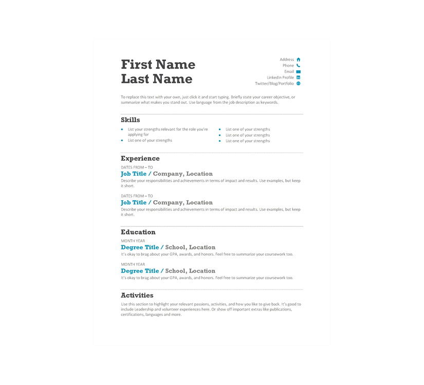 Chronological Resume Template Word Document