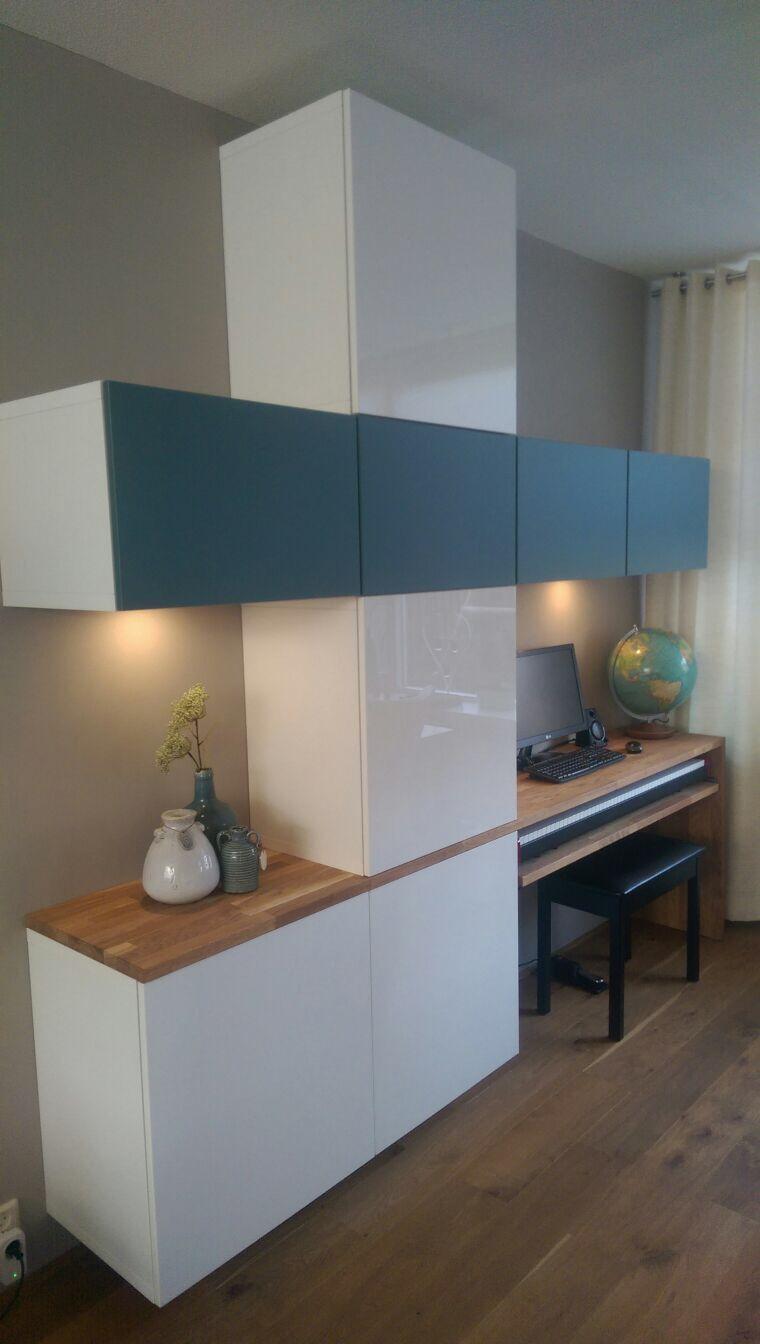 Ikea Besta Systeem Met Een Keukenwerkblad Van Ikea Laderails Via  # Meuble Tv Kaorka Ikea