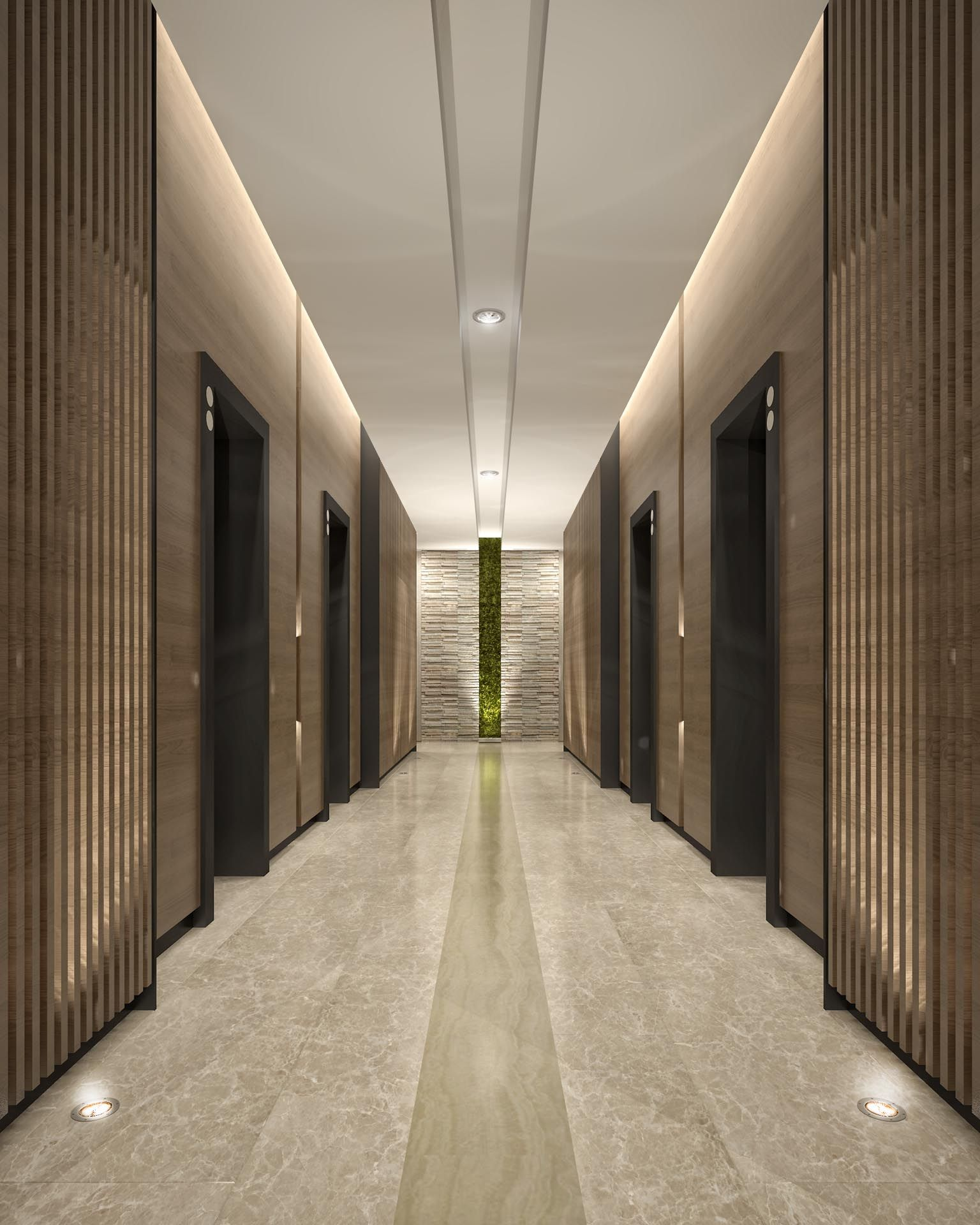 Corridor Design: Mimar Interiors Lift Lobby Lighting. Wall Graze. Corridor