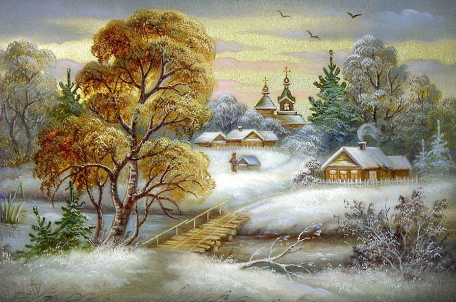 зимние пейзажи картинки декупаж сожалению