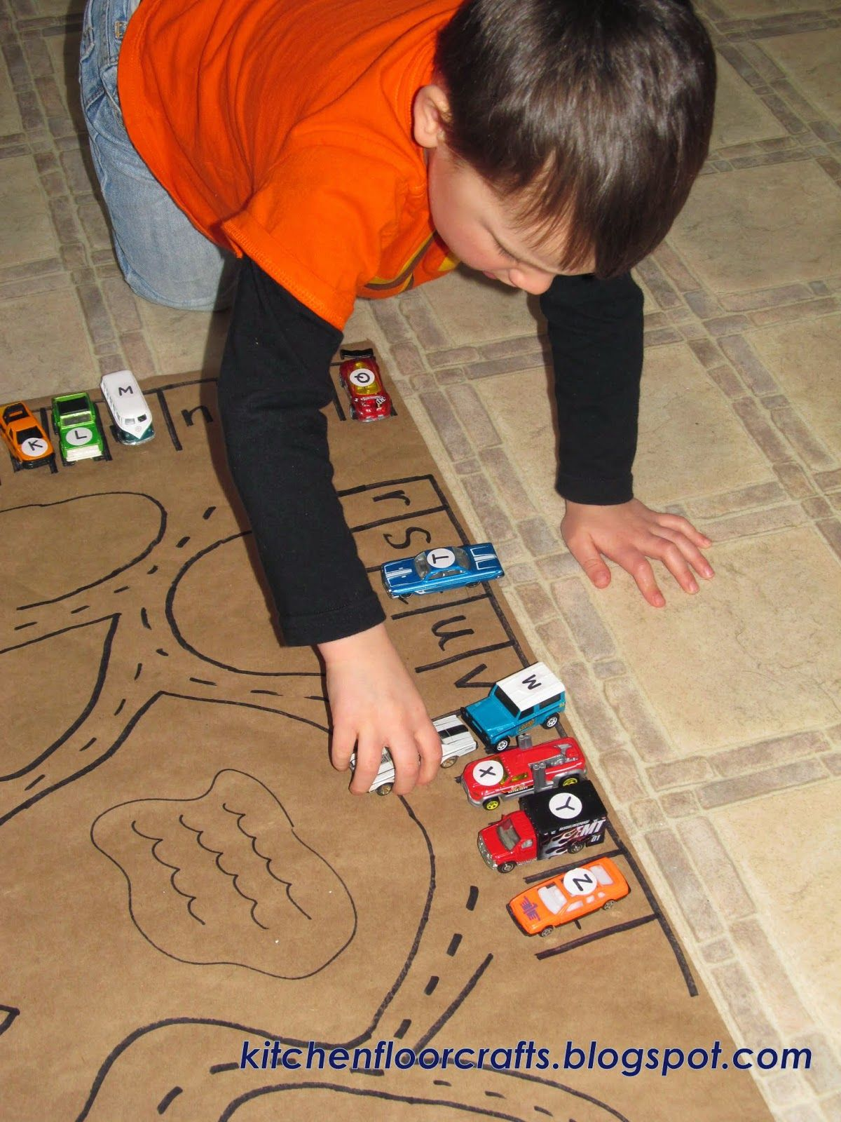 Kitchen Floor Crafts Letter Match Race Car Village
